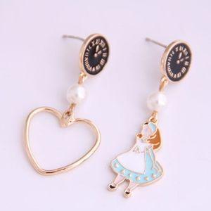 Alice in Wonderland Asymmetrical Earrings